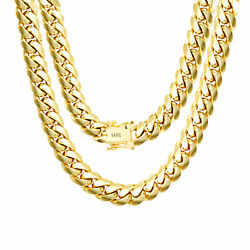 14K Yellow Gold Solid 9mm Mens Miami Cuban Chain Pendant Necklace Box Clasp 28