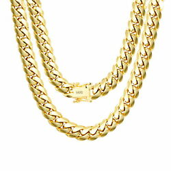 14K Yellow Gold Solid 9mm Mens Miami Cuban Chain Pendant Necklace Box Clasp 30