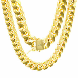 14K Yellow Gold Solid 11mm Mens Miami Cuban Chain Pendant Necklace Box Clasp 24