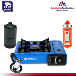 Camplux New Dual Fuel Propane amp; Butane Portable Outdoor Camping Gas Stove Blue $44.99