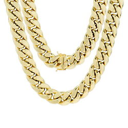 10K Yellow Gold Men 14.5mm Miami Cuban Link Chain Pendant Necklace Box Clasp 30