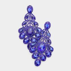 4.25quot; Royal Blue Chandelier CLIP ON Earrings 3021 $15.99