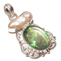 Best Store!! Dichroic Glass and Biwa Shell Silver Plated Handmade Pendant 2 $14.99
