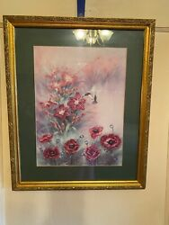 "John Cheng Hummingbird with Day Lilies Fox Gloves 18"" X 22"" 1995 2 Piece Set $59.99"