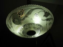 VINTAGE ANTIQUE GLASS SHADE CEILING FIXTURE CHANDELIER FRENCH FARMHOUSE DECO 16 $174.99