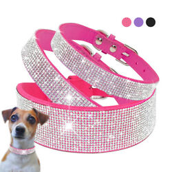 Bling Rhinestones Dog Collar Soft Suede Leather Cat Necklace for Small Large Dog $17.99