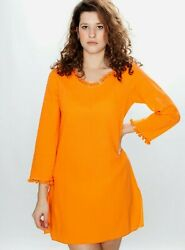 Jamp;Ce Women#x27;s Long Sleeve 100% Cotton Hooded Beach Cover Up Orange Size S NWT $29.99