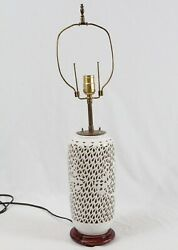 Cracked Blanc De Chine Reticulated Porcelain Cherry Blossom Table Lamp Vintage $89.99