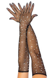 Sexy black rhinestone fishnet opera gloves $12.99