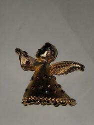 Nice Signed DODDS 1960's Gold Tone Rhinestones Christmas Angel Pin Brooch $14.99
