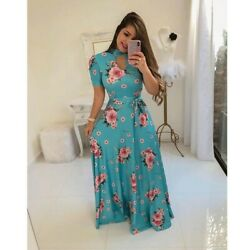 Fashion Women#x27;s Boho Floral Short Sleeve Maxi Dresses Casual Ladies Summer Dress $19.99