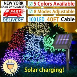 12M 100LED Solar Waterproof Wire String Fairy Light Strip Lamp Party 8 mode $9.23