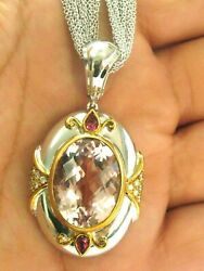 Morganite Pink Sapphire & Diamond Pendant Necklace 18Kt White Gold 22.88Ct 16
