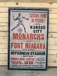 Antique Rustic Style Negro League Satchel Page Monarchs 12x16 Poster Wood Sign $35.00
