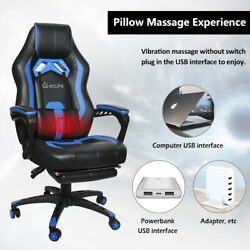 Office Gaming Chair Racing PU Massage Executive Computer Desk Seat Swivel Blue $152.99