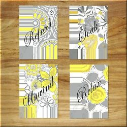Yellow and Gray Wall Art Bathroom Flower Floral Picture Prints Decor Relax Soak $14.95