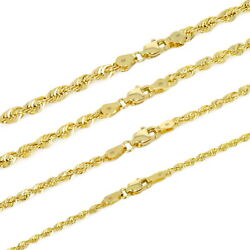 14K Yellow Gold 1.5mm-4mm Italian Rope Chain Pendant Necklace Mens Women 16