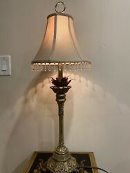 "Candlestick Resin And Metal Leaves In Silver Lamp With Shade 32""H $45.00"