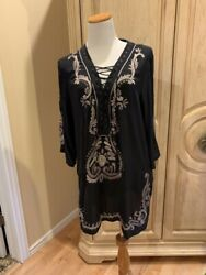 COCO CONTOURS Embroidered Cover Up Tunic Dress 100% Silk Black Size Large NEW $125.99