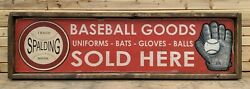 Antique Style Spalding Baseball Glove Bat Ad Wood Printed Sign $75.00