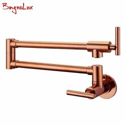 Solid Brass Faucet Swivel Spout Cold Water Only With Dual Swing Rose Gold Tap $91.43