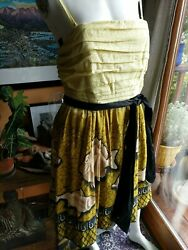 Anthropologie Vanessa Virginia Sundress Dress Sz 10 Chartreuse Yellow New wTags