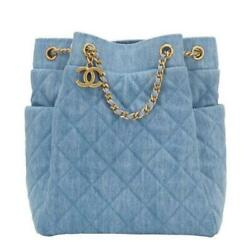 Used CHANEL Denim Quilt Chain Shoulder Bag Light Blue Color With Box Rare O
