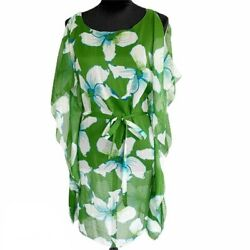 NWT MAX STUDIO Green Floral Sheer Caftan Beach Swimsuit Coverup NEW  $42.00