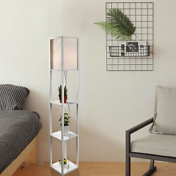 Shelf Floor Lamp Lighting Storage Shelves Home Living Room Bedroom White Modern $47.50