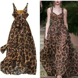 Runway Women's Leopard Print V Neck Dress Sleeveless Extra-long Party Cocktail L