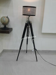 Royal Nautical Black Tripod Floor Shade Lamp Home Decor $173.00