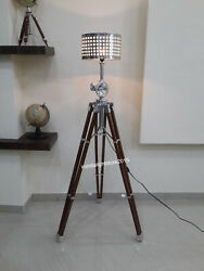Nautical Floor Shade Lamp Brown Wooden Tripod Stand Home Decor $399.00