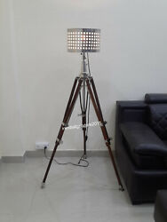 Vintage Designer Nautical Floor Shade Lamp Brown Tripod Stand Home Decor $186.00
