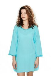 Jamp;Ce Women#x27;s Long Sleeve 100% Cotton Hooded Beach Cover Up Turquoise XL NWT $32.99