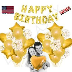 43pc Gold Set Confetti amp; Latex Metallic Balloons Birthday Party 16quot; Foil Letter $14.99
