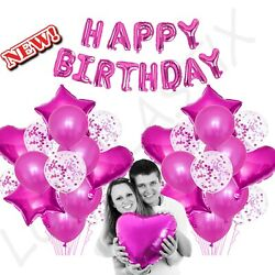 43Pc PINK Set Confetti amp; Latex Metallic Balloons Birthday Party 16quot; Foil Letter $14.99