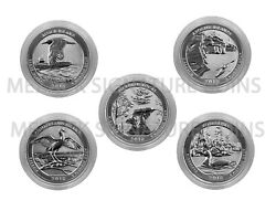 2018-S 5-Quarter set from Silver Reverse Proof 50th Ann Set - Airtite capsules $33.95