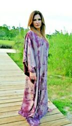 NEW Silk Kaftan Caftan Tie Dye black brown Beach coverup Summer Resort XL purple