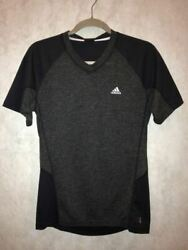 ADIDAS SUPER TREKKING Black Grey S S Training Running Tee Shirt NEW Mens Sz S $35.45