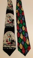 Christmas Novelty Tie Lot Norman Rockwell amp; Ralph Marlin Ornaments $12.25