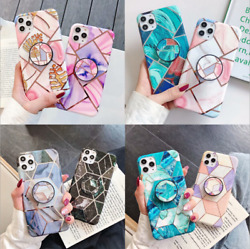 Geometric Marble Case For iPhone 12 Pro Max XS Max XR Airbag Holder Socket Cover $8.99
