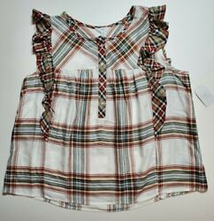 Time and Tru Women Embroidered Flutter Sleeve Top Blouse Winter White Plaid XXL $13.45