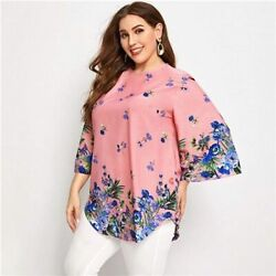 Highly Brand White Curved Hem Floral Tunic Top O neck Loose Casual Long Blouses $34.00