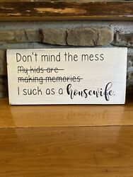 funny Housewife sign rustic home decor hand made farmhouse primitive humor $12.99