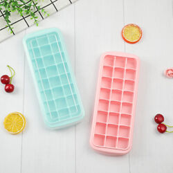 24 Cubes Home Made Ice Cube Tray Maker Mold Soft Silicon with PP Lid BPA free $8.99