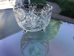 ELEGANT CUT GLASS FOOTED CRYSTAL SIDE SERVING CANDY DISH BOWL $38.70