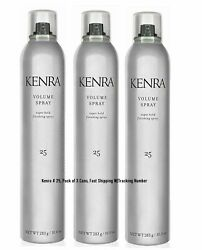 KENRA #25 VOLUME SPRAY 10 Oz. Pack of 3 Cans, SUPER HOLD FINISHING HAIRSPRAY $39.00