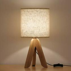 Small Bedside Table Lamp Wooden Tripod Nightstand Lamp with Fabric Linen Shade $21.99
