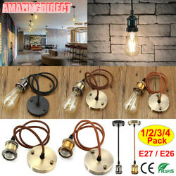 1 2 3 4 Pack Vintage Pendant Light Kit Hanging Industrial Style Ceiling Lamps $10.99