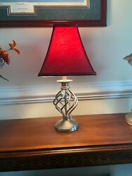 """Brush Nickle Desk Lamp with Red Lamp Shade 20""""tall $19.99"""